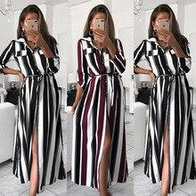 Striped Print Shirt Dress Elegant Women Summer Party Dresses Bohemian Beach Sexy Slit Club Loose Tunic Maxi Long Dress Vestidos high slit striped maxi dress
