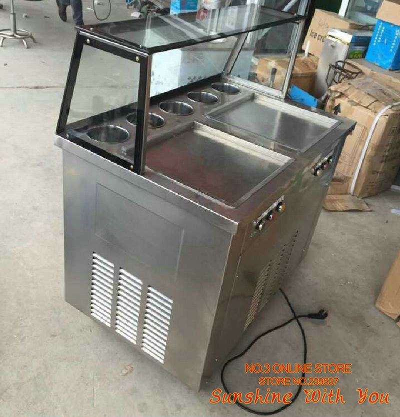 Double Pan Fried Ice Cream Machine 5 Boxes Fry Yogurt Ice Maker Stainless Steel