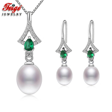 Fashion Natural Pearl Jewelry Sets for Women Anniversary Gifts 8-9MM Freshwater Cubic Zirconia Jewellery Set FEIGE