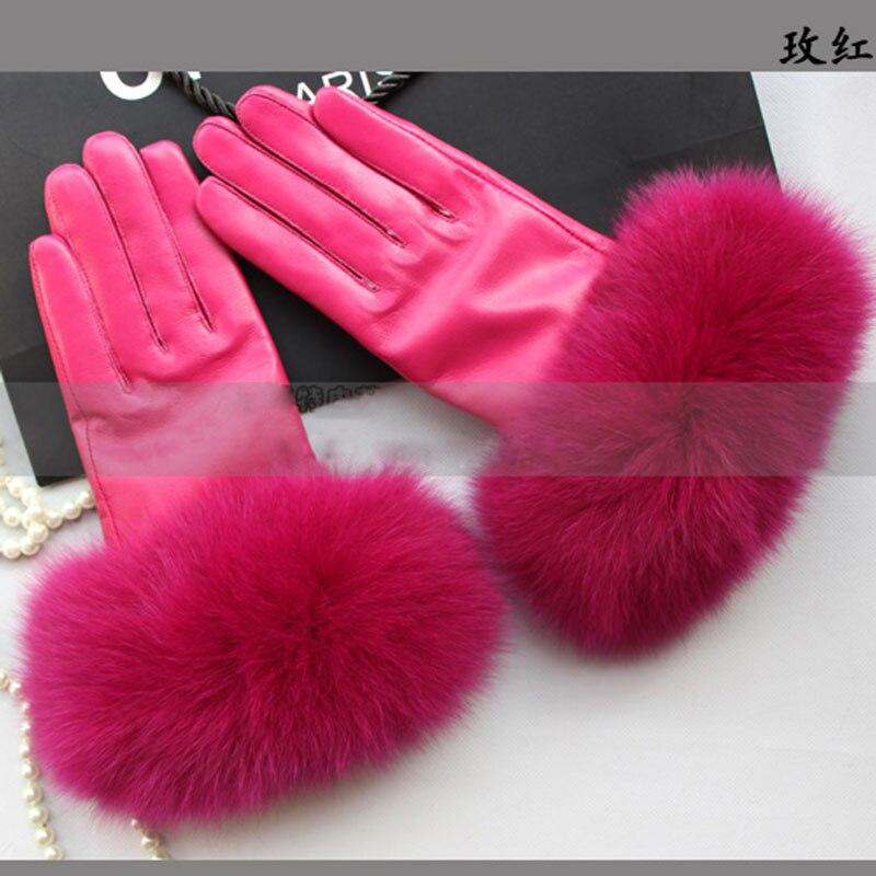 3984d512 De Lujo guantes de cuero Real de piel de zorro de moda para mujer de  invierno de 2019 rojo mano ...