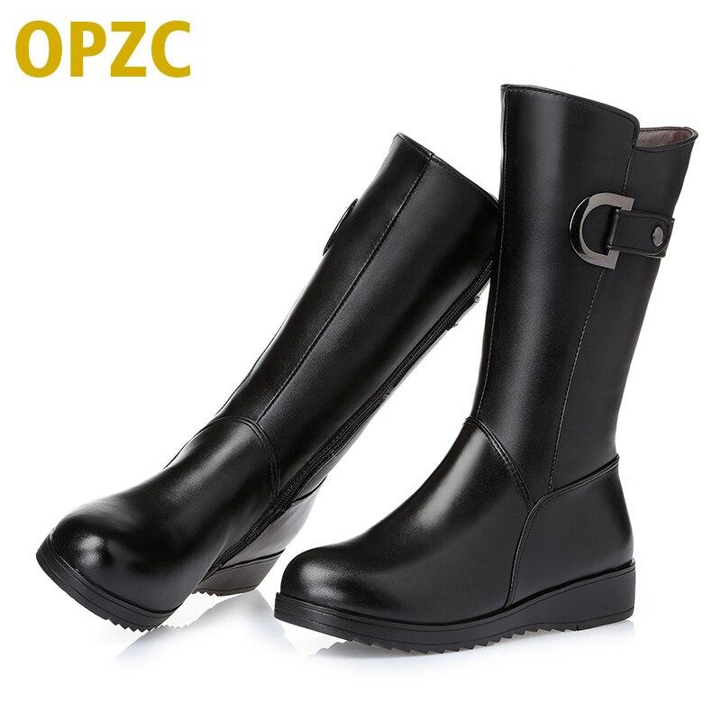 718763e4 Купить 2018, женские зимние ботинки из натуральной кожи на плоской подошве,  женские, теплые на меху, женские мотоциклетные ботинки большого размера 35.