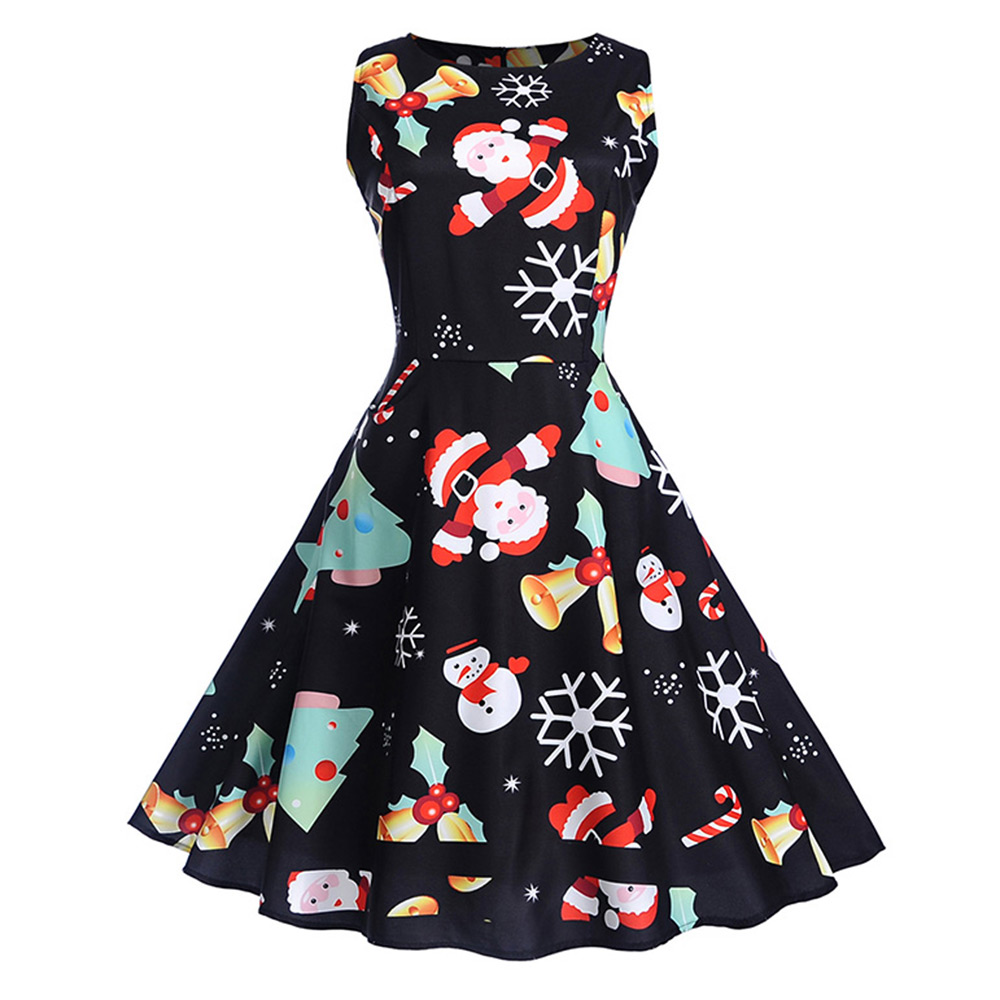 004fe55c61a6 Dress Type:Fit and Flare Dress Dresses Length:Knee-Length Neckline:Round  Collar Sleeve Length:Sleeveless Pattern Type:Print With Belt:No
