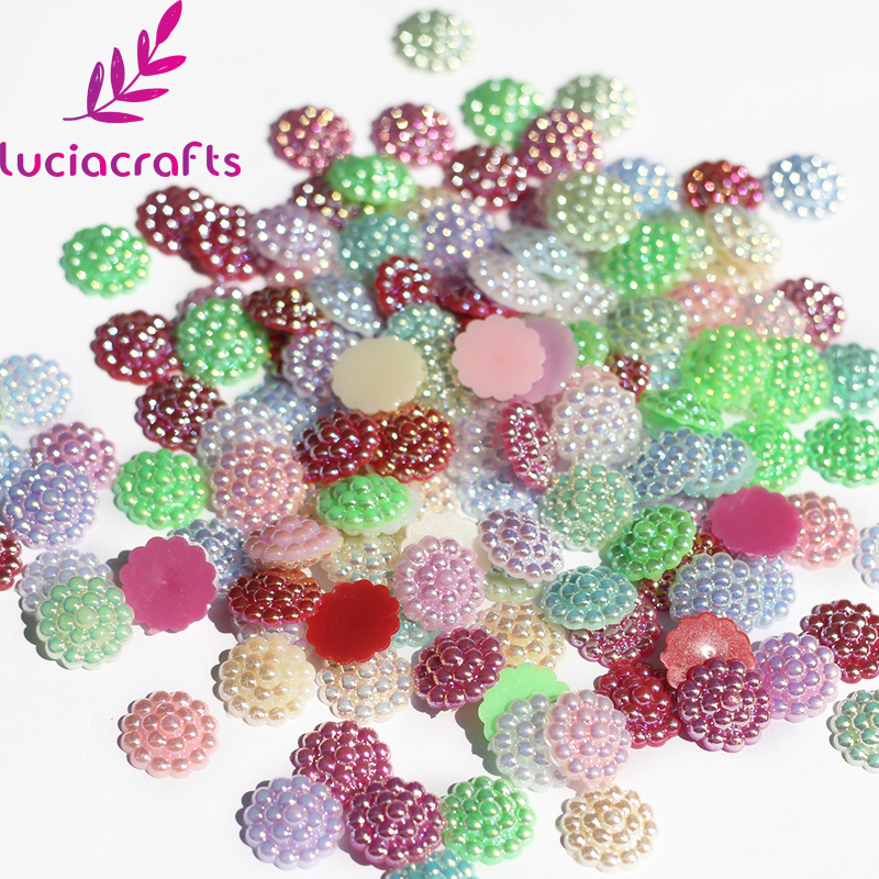 Lucia Craft 13mm Multi colors option ABS Imitation Pearls Sunflower Flatback Pearls Scrapbook DIY Decoration 36/72pcs 005008026