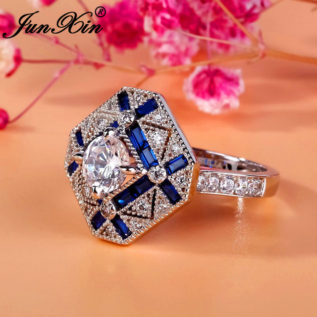 JUNXIN Luxury Geometry Big Rings For Men Women 925 Sterling Silver Filled  Blue White Zircon Engagement Ring Male Birthstone Ring 30d1a171a4c3