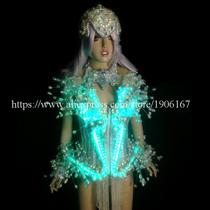 최신 LED 발광 발광 섹시한 여성 정장 옷 Led 크리스탈 - 휴일 파티 용품