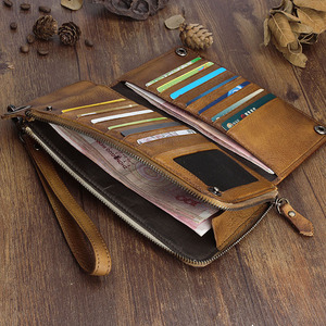 Image 4 - Carteira aetoo artesanal de couro, longa, masculina, retrô, de mão, grande capacidade, com zíper, organizador de telefone, vintage