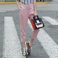 Nova Chegada de Moda Chiffon Mulheres Calças Capri Cintura Elástica Cor Sólida Escritório OL Calça Casual Verão Calças Slim Calças