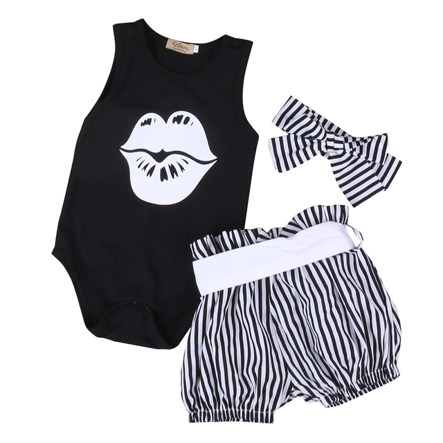 Baby Girl Clothing Sets Toddler Infant Girls Sleeveless Lips Romper T-shirt+Short Stripe Pants Headwear Kids Clothes Outfits