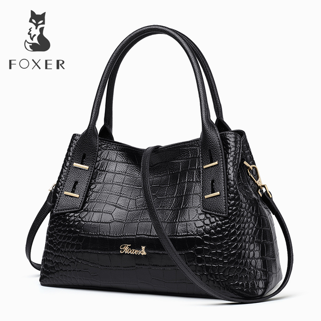 d197a5fd5f FOXER Brand Retro Design Women Cow Leather Handbags Sophisticated Female  Chic Alligator Shoulder Bag Lady s Tote