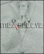 Men's Tuxedo Vest four Pieces Set – Vest with ascot Tie, Handkerchief and cufflinks