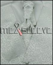 Men's Tuxedo Vest 4 Pieces Set – Vest with ascot Tie, Handkerchief and cufflinks