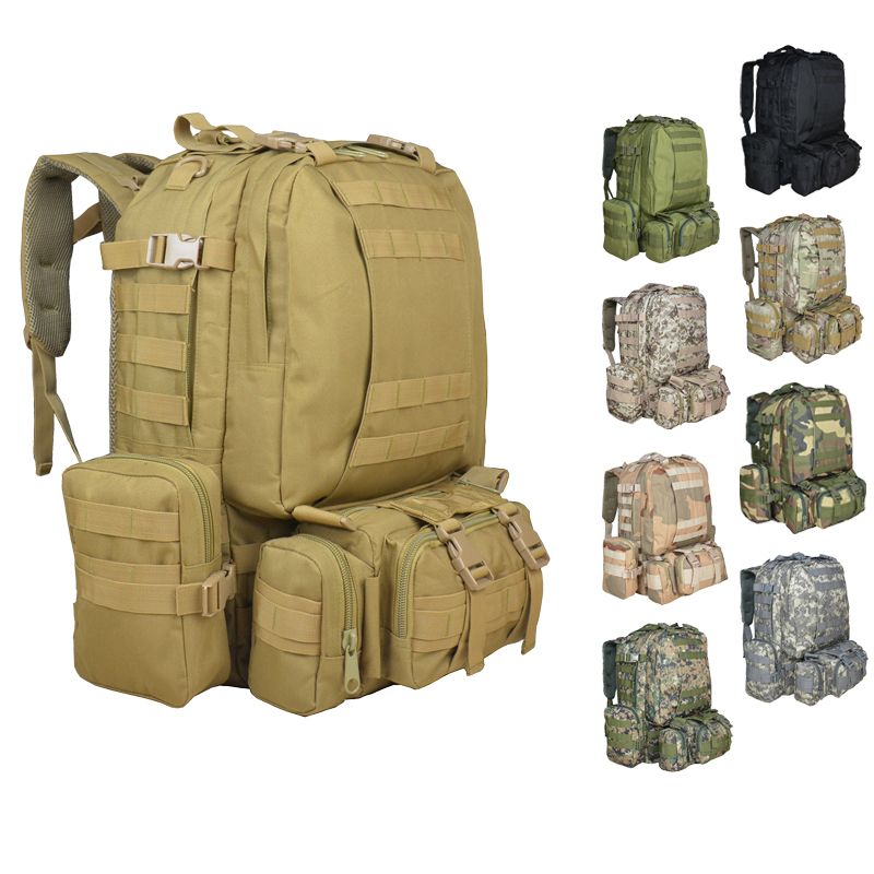 Military Large Backpack Men's Tactical Large-capacity Backpack 50l Moore Tactical Carrying Multi-function Assault Travel Bag