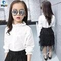 TUTUYU 100% Algodón Niñas Blusa de Encaje Niños Camisa Blanca Larga longitud muchachas del Resorte Camisa Nueva Llegada 3-12Y