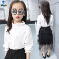 TUTUYU 100% Cotton Girls Blouse Lace Children Kids White Shirt Long length Spring girls Shirt New Arrival 3-12Y