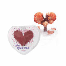 2PCS 8x7cm Red Visual Magic Growing Paper Love Tree Magical Grow Loving Heart Christmas Trees Hot Kids Science Toys For Children 2019 12x8cm hot white magic growing paper snowflake tree magical grow snowflakes flutter crystals snowman trees flakes kids toys