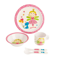 Sisi Tommy 5pcs Set Dinnerware Set For Baby With Animal Pattern Melamine Material Plate Bowl Cup