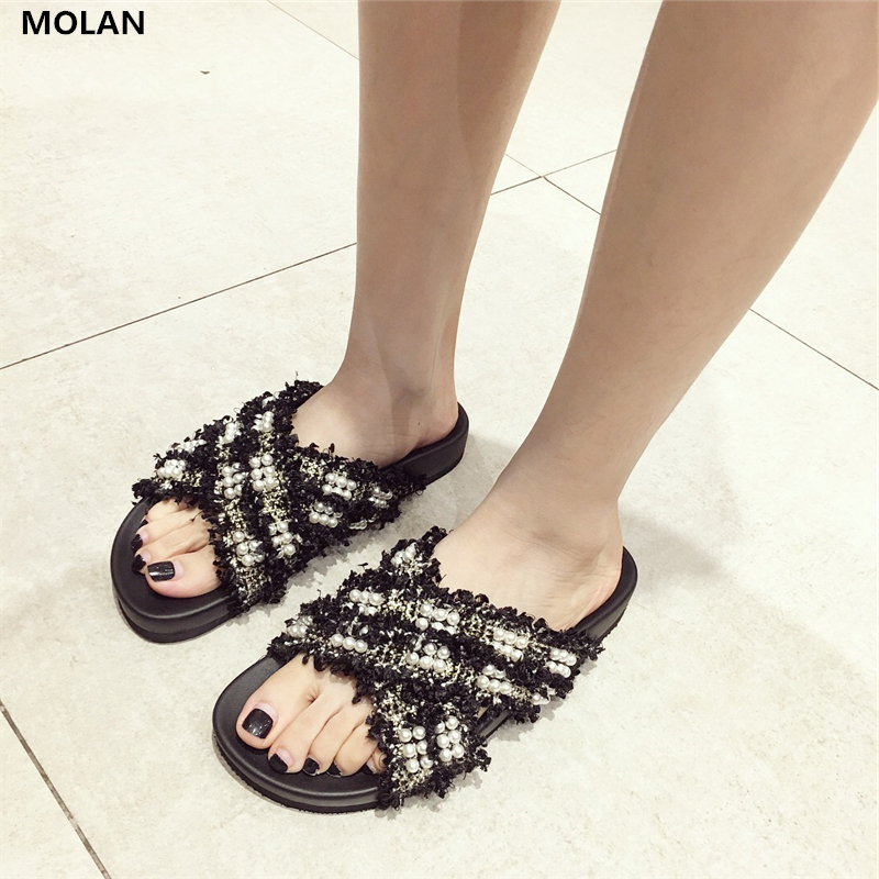 MOLAN Brand Designers 2018 Summer Fashion String Bead Cross Tie Woman Slides Thick Bottom Slippers Loafers Mules Flip Flops