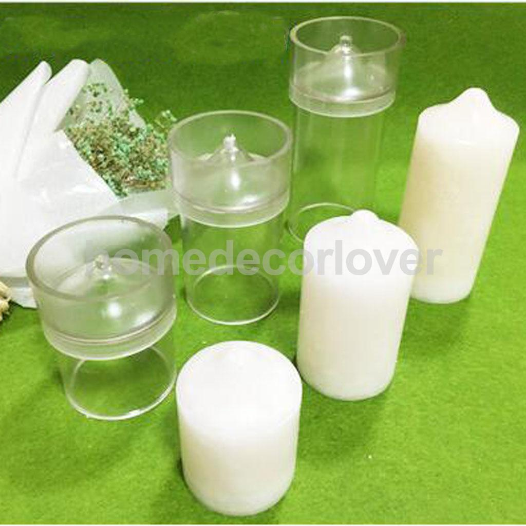 Clear Cylinder Plastic Candle Making Moulds DIY Scented Candles Craft Soap Molds