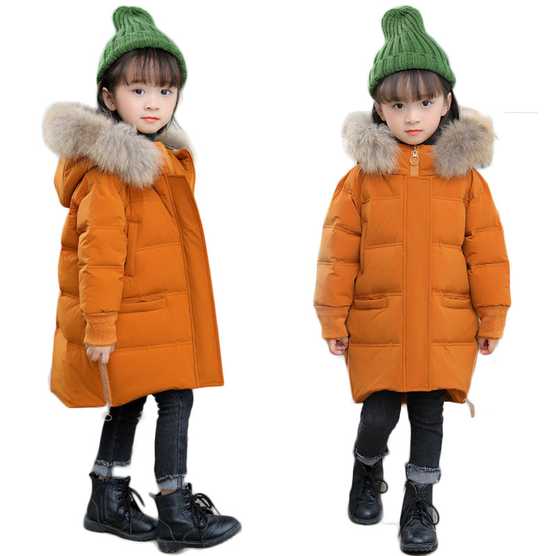 Winter Girls Raccoon Fur Collar Jackets Baby Hooded Coats White Duck Down Thick Warm Overcoats Toddlers Children Outerwears P214 недорого