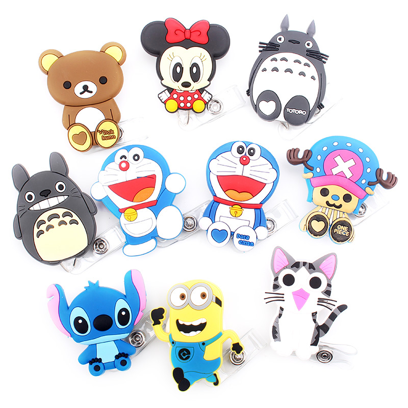 1 Pcs / Lot New Cartoon Retractable Pull Badge Reel ID Name Tag Card Nurse Badge Holder 2019 Lovely Kids Reels