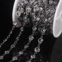 NEW! 3Meter/Lot 6mm Plated Gun Black K9 Optical Clear Crystal Glass Coin Bead Rosary Chains,Faceted Flat Round Beaded Necklaces