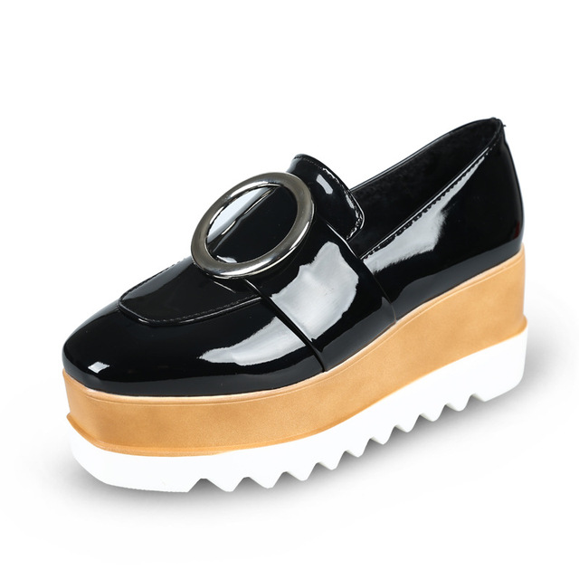 57c16a59cf95 Creepers Platform Shoes Punk for Woman Oxfords Shoes Designer Flat Brand  Luxury Black Patent Leather Round