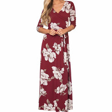 купить 2019 Summer Women Floral Print Boho Dress Sexy V-neck High Split Beach Long Dress Causal Sashes Wrap Maxi Dresses Plus Size XXL онлайн