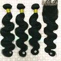 7А Горячие Продажи Индийский Девы Волос BodyWave Волнистые Волосы С Закрытием Шелковые Lace Closure С Пучками Человеческих Волос С Закрытием
