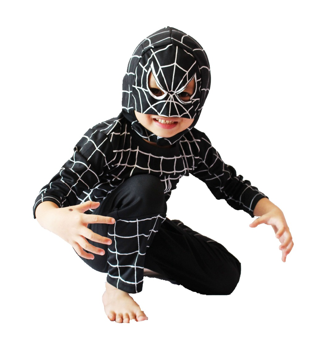 Halloween Children's Bos black spider-man model clothing kid Cosplay mask & 2 suit Role-playing  B4 size:5#-13#