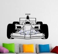 Formule Un Mur Stickers Voiture de Sport Racing Vinyle Autocollant Accueil Intérieur Chambre Décor de Nurserie Dortoir Chambre H57cm x W92cm/22.5