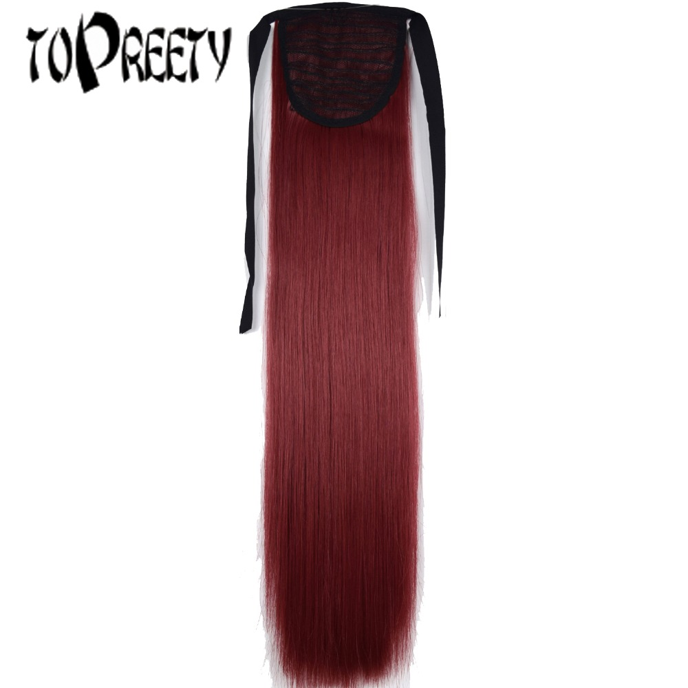 TOPREETY Heat Resistant B5 Synthetic Hair 22 55cm Straight Ribbon Ponytail Hair Extension