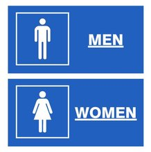 TOILET/WC/BATHROOM/LAVATORY sign/symbol/mark,6×3 inch,Self adhesive label sticker,product code PL09, free shipping