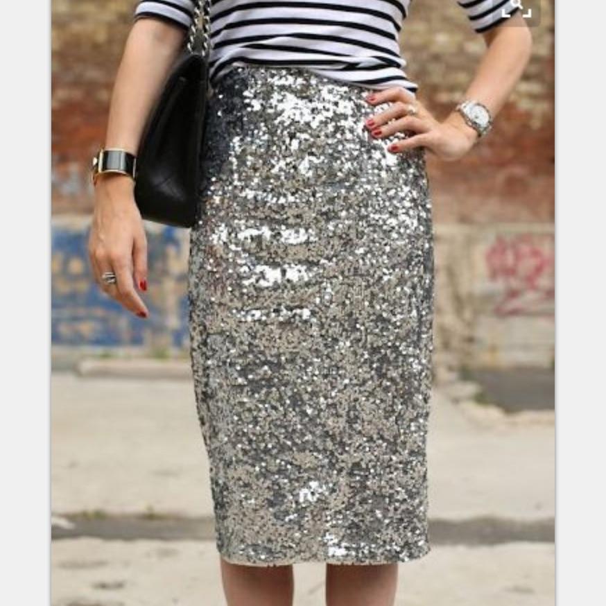 Popular Silver Sequin Pencil Skirt-Buy Cheap Silver Sequin Pencil ...