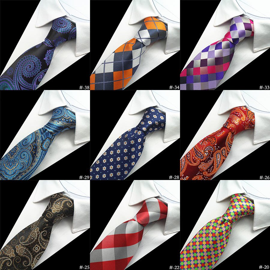 GUSLESON Silk Men Tie 8cm Plaid Paisley Neck Ties For Men Necktie Classic Wear Business Wedding Tie Party Gravatas 1200 Needles