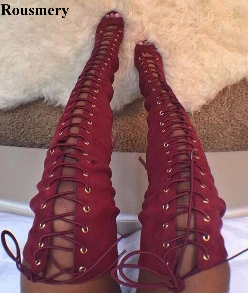 Spring Summer New Fashion Women Open Toe Lace-up High Heel Gladiator Boots Sexy Over Knee Slim Style High Heel Boots Dress Shoes