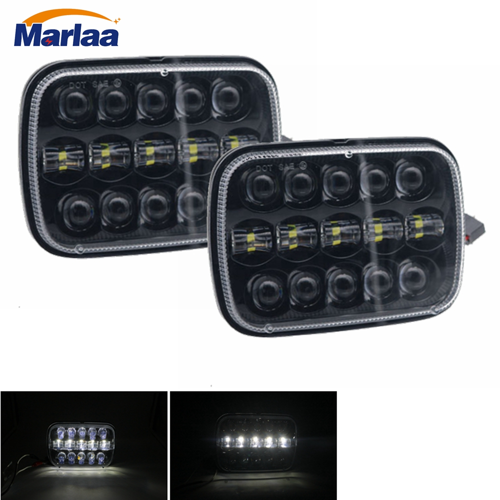 Marlaa LED Rectangular Headlight Projector 7x6 5x7 inch Sealed Beam Replacement Hi/Lo Beam DRL Headlamp Bulb for Jeep Wrangler 105w 5x7 7x6 inch rectangular sealed