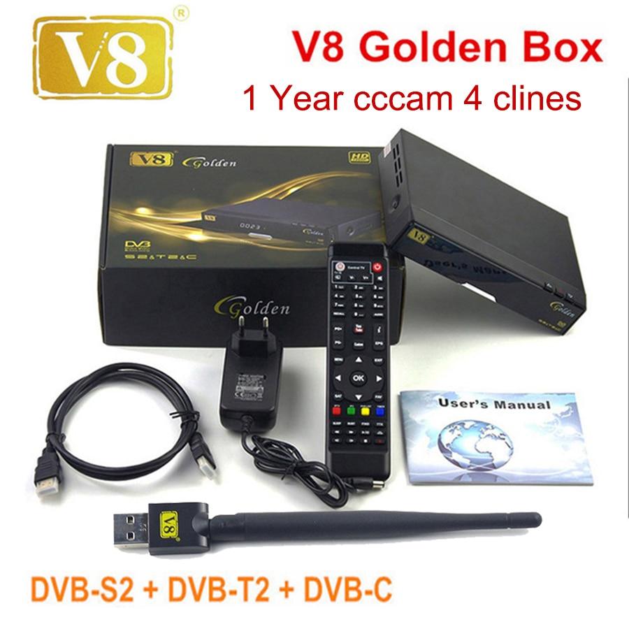 Openbox V8 Golden DVB S2 DVB T2 DVB C Receptor satellite Decoder with 1 year Europe