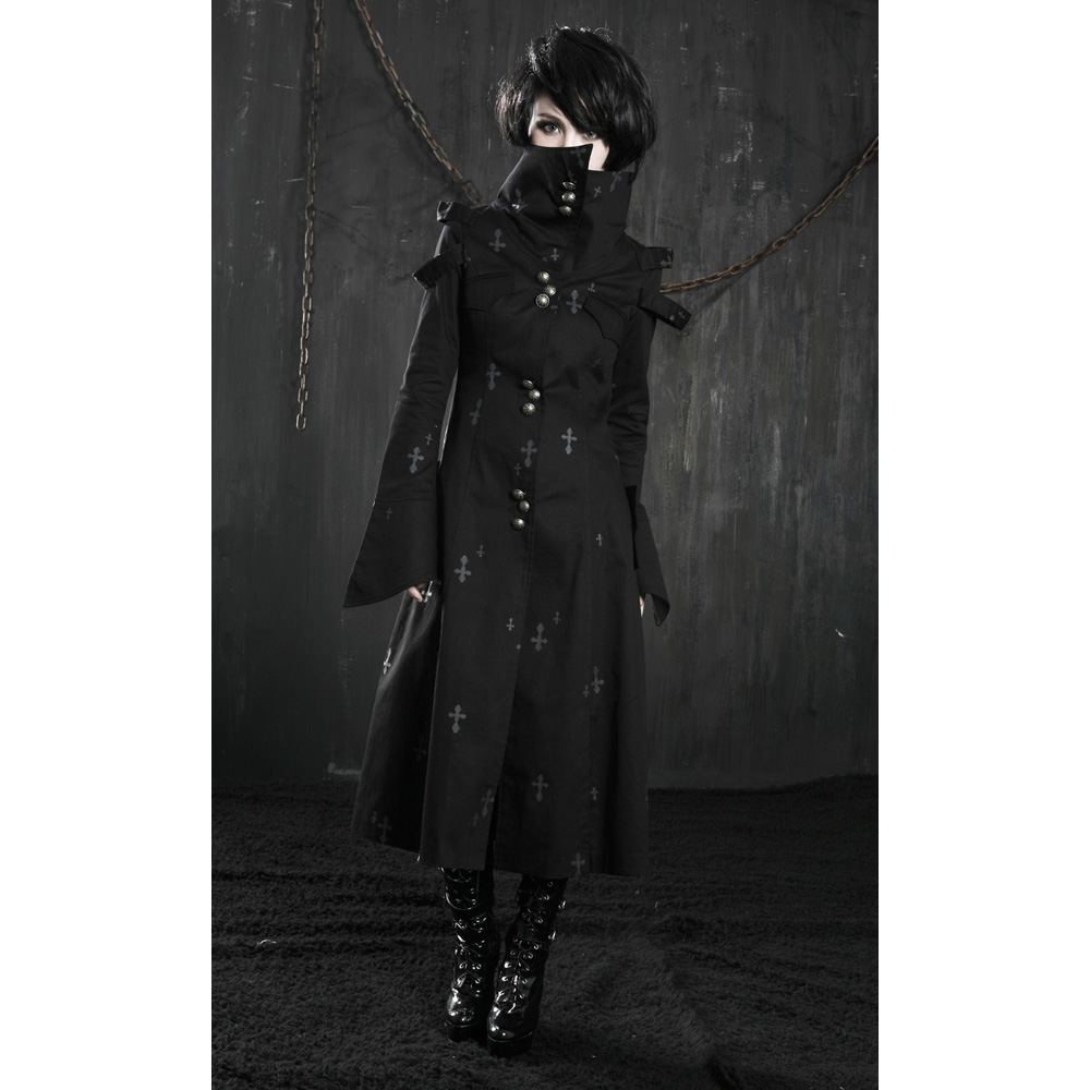 New Hot Sale Men Hooded Jacket Long Cardigan Black Ninja Goth Gothic Chocker Slice Top Blouse Baju Atasan Wanita Bl899 Punk Retro Batu Vampire Emo Kere Musim Dingin Panjang Coat Man Jaket Hitam Y209