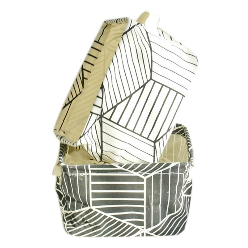 Small Fresh Style Plaid Storage Box Brief Linen Desk Holder Geometric Print Jewelry Cosmetic Stationery Case FP8 MY1118