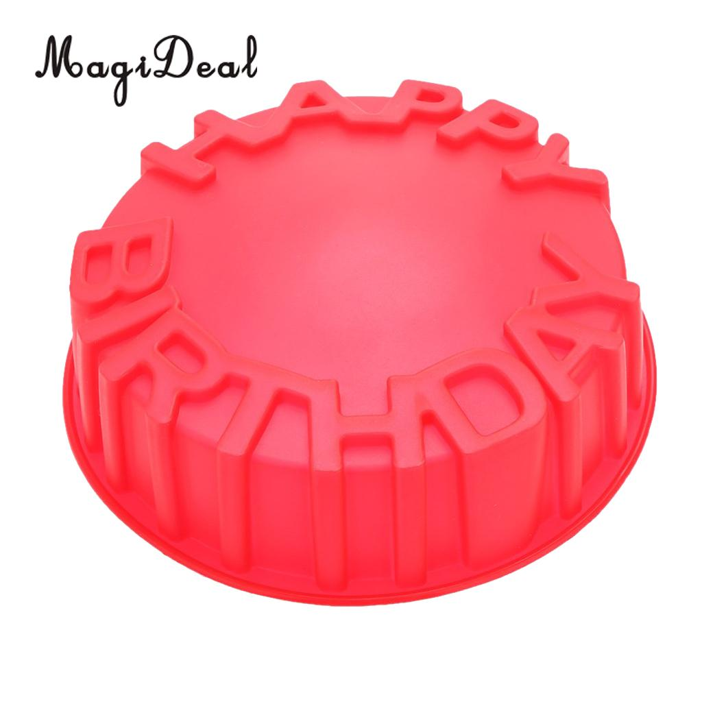 MagiDeal Happy Birthday Cake Mold Pan Chocolate Pizza Baking Tray Silicone Mould