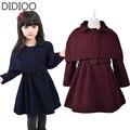Girls Clothes 2015 Autumn & Winter Child Jacket Baby Kids Cloak & Coat 2Pcs Wool Outwear For Girls Children Wool Coats Size 2-14