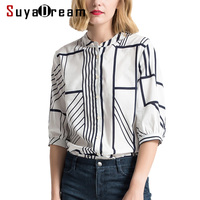 Women SILK Blouse 100%Real silk 50%Cotton Striped Printed casual Blouses Office lady shirt 2018 Spring Summer