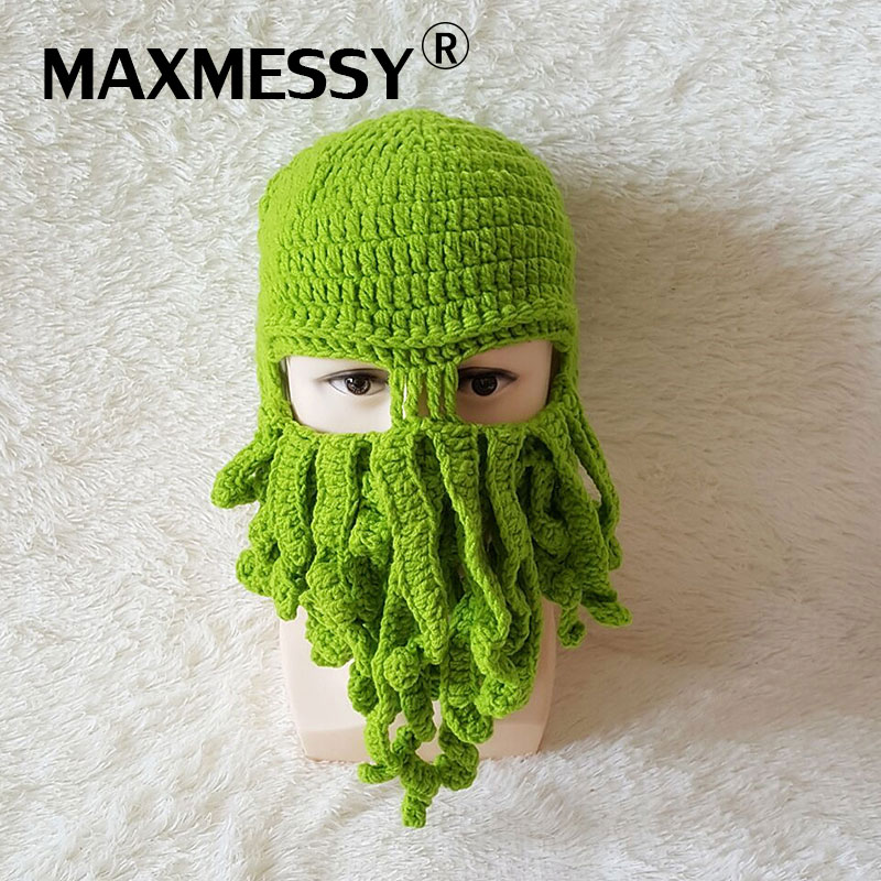 MAXMESSY Halloween Funny Cosplay Octopus Hat Autumn Winter Men Women Handmade Knitted Masked Hat Gift For Party MH056