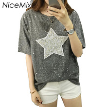 NiceMix 2017 Summer Plus Size XL-4XL T Shirt Women Star Sequined Patch Loose Short Sleeve T-shirts Tumblr Tops Tees