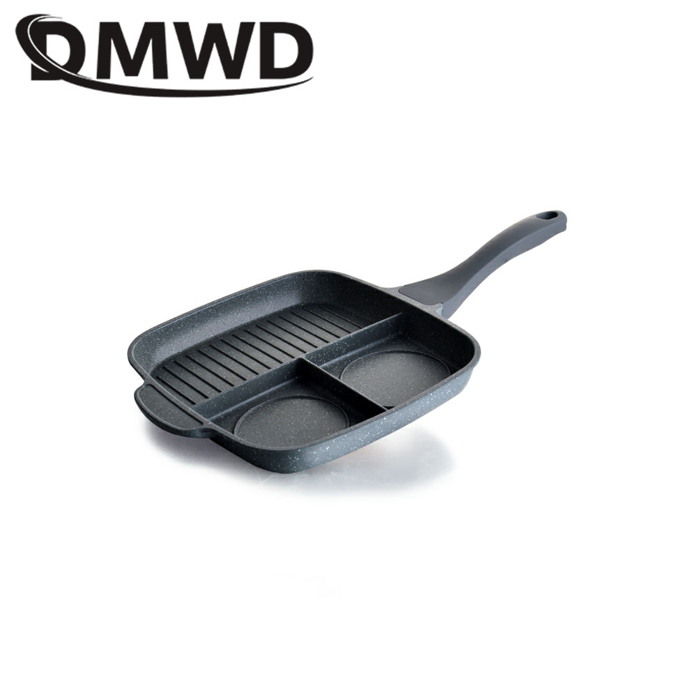 все цены на DMWD Multifuncation Non-Stick 3 in 1 Frying Pan Grill Fry Oven Meal Skillet BBQ Barbecue Plates fryer Eggs steak breakfast pan