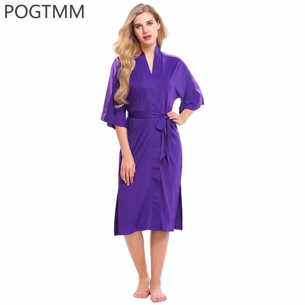 Satin sleepwear women wedding bride long bath robe female for Bathroom wear