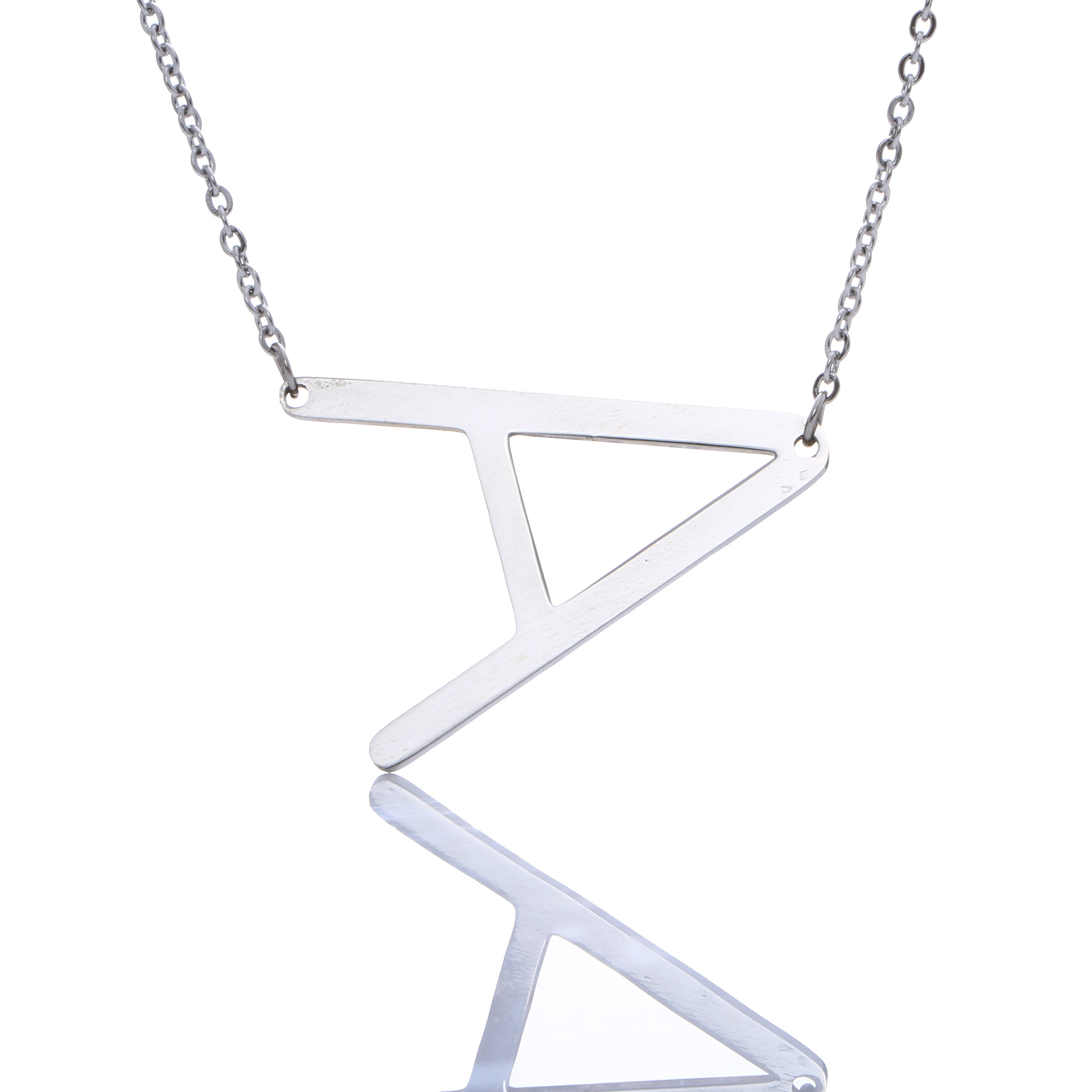 Hot Sale Silver Steel Necklace 26 English Letters 925 Sterling Silver Pendants For Women Fashion Jewelry