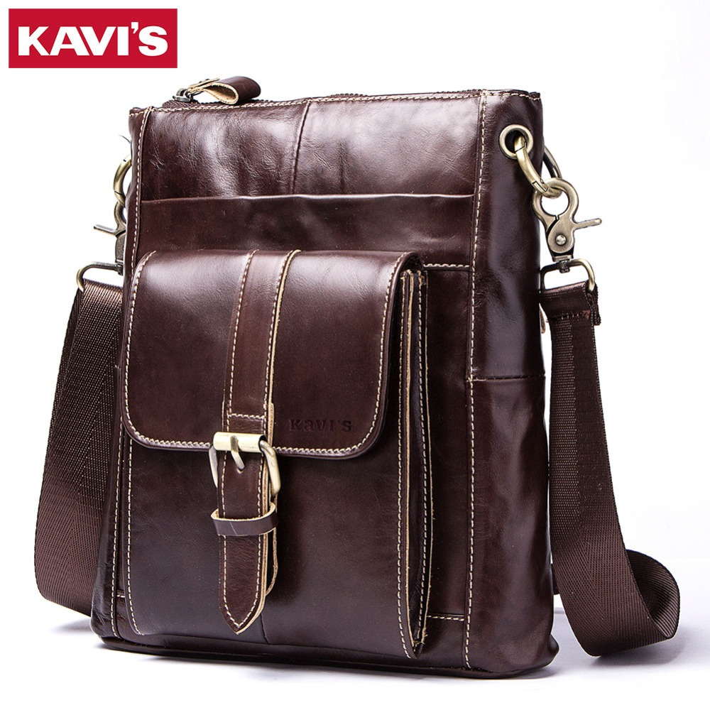 KAVIS 100 Cow Genuine Leather Messenger Bag Men Shoulder Crossbody Handbag Chest Bag for Male Real