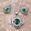 ¡ Venta caliente! verde Cubic Zirconia Plata Juegos de Joyería Pendientes/Colgante/Collar Del Envío Libre TZ020
