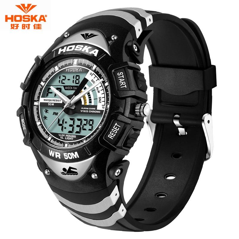 Hot Fashion HOSKA Men Watch 50m Waterproof LED Sport Military Watches Shock Men s Analog Quartz